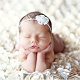 PePeng Newborn Photography Props, Use Soft 3D Rose Flower Backdrop Beanbag Rug to Create Memorable Kids Portrait Photography (Off - White)