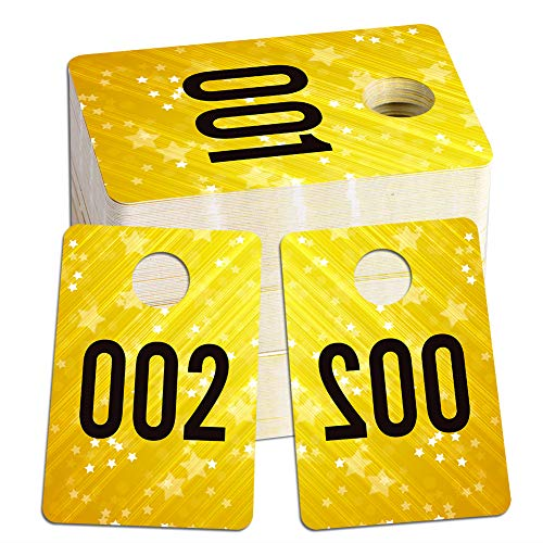 """WHATSIGN Number Tags for Live Sale,1.7"""" x 2.5"""" Live Numbers,Normal and Mirror Image,Reusable Hanger Tags for Live Coat Room,100 Consecutive Numbers,001-100"""