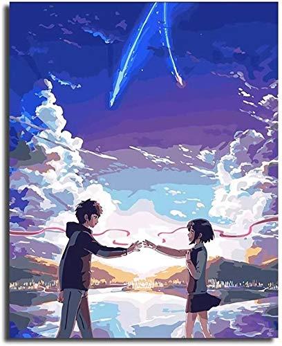 JHGJHK Película de Dibujos Animados Anime japonés Hayao Miyazaki Nombre película decoración de la habitación Familiar Pintura (Imagen 1)