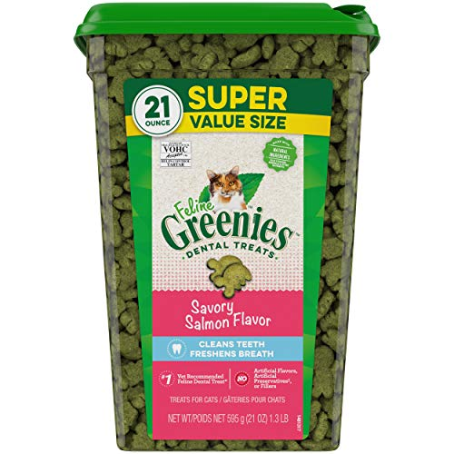 Greenies FELINE Dental Cat Treats, Savory Salmon Flavor, 21 Ounce Tub