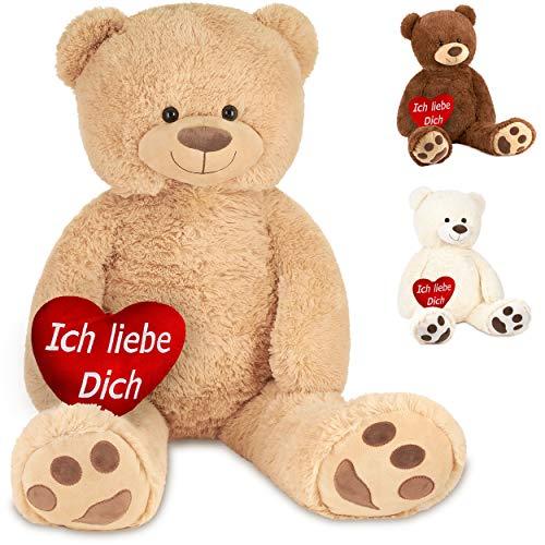 Brubaker XXL Teddybär 100 cm Beige mit einem Ich Liebe Dich Herz Stofftier Plüschtier Kuscheltier