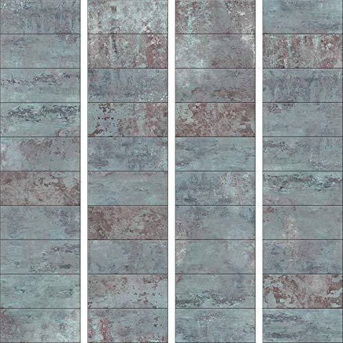 *murando – PURO TAPETE – Realistische Betonoptik Tapete ohne Rapport und Versatz 10m Vlies Tapetenrolle Wandtapete modern design Fototapete – Beton Stein Mozaik Wand Mauer blau f-A-0161-j-b*