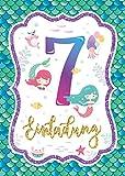 Junaversum 12 Einladungskarten zum 7. Kindergeburtstag Mädchen Meerjungfrau Einladungen siebte Geburtstag