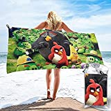QWAS Toalla de playa Angry Birds con bonito diseño de pájaros y cerdos, muy suave, la mejor opción para viajar a casa (A04,80 cm x 130 cm)