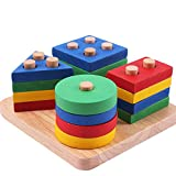Eizur Geometriche Puzzle in Legno Blocchi Geometrici Giochi da impilare Legno Impilatore G...