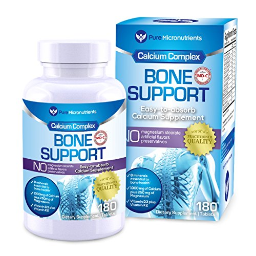 Calcium Supplement (Citrate & Hydroxyapatite 1000mg) for Complete Bone Health + Vitamin D3 K2 Magnesium & More, 180 Tablets - Pure Micronutrients