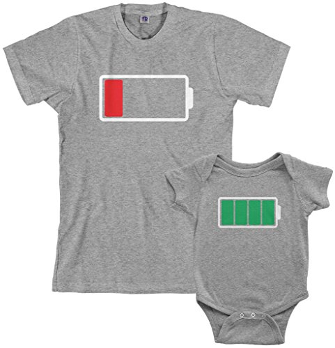 Product Image of the Threadrock Full and Low Battery Infant Bodysuit & Men's T-Shirt Matching Set...