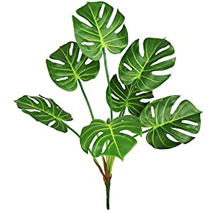 Silk Flower Arrangements Ollain Artificial Palm Plants 7 Leaves Faux Turtle Tree Tropical Monstera Leaf Fake Tropical Large Palm Leaves Fern Grass Fake Green Bushes Shrubs Greenery Party Outdoor UV Garden Resistant Decor