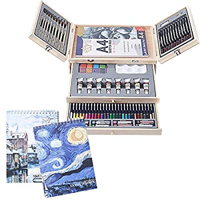 Deluxe Art Creativity Set with 2 x 50 Page Drawing Pad, Art Supplies in Portable Wooden Case