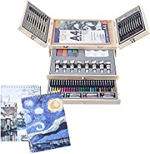Professional Art Set 85 Piece with 3 x 50 Page Drawing Pad, Deluxe Art Set in Portable Wooden Case-Painting & Drawing Set Professional Art Kit for Kids, Teens and Adults/Perfect Gift