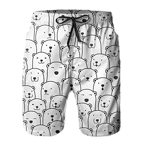 QUEMIN Shorts de baño de Secado rápido para Hombre Polar Bear Faces con Forro de Malla, Talla L