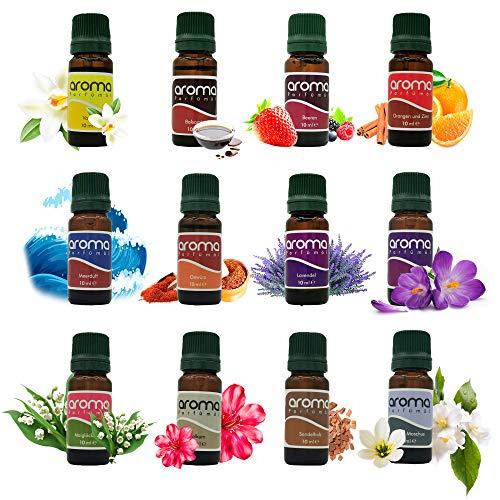 Parfümöl Set, 12-teilig je 10 ml, Raumduft, Duftöl Geschenkset, Diffuser, Zerstäuber, Öllampe, fruchtig, blumig Sandelholz, Lavendel