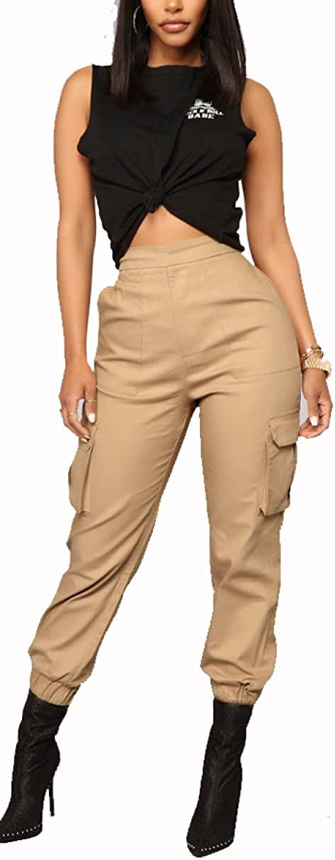 THLAI Women's Cargo Pants Athletic Workout Track Pants Quick Dry Casual Outdoor Women Pants with 4 Pockets Elastic Waist