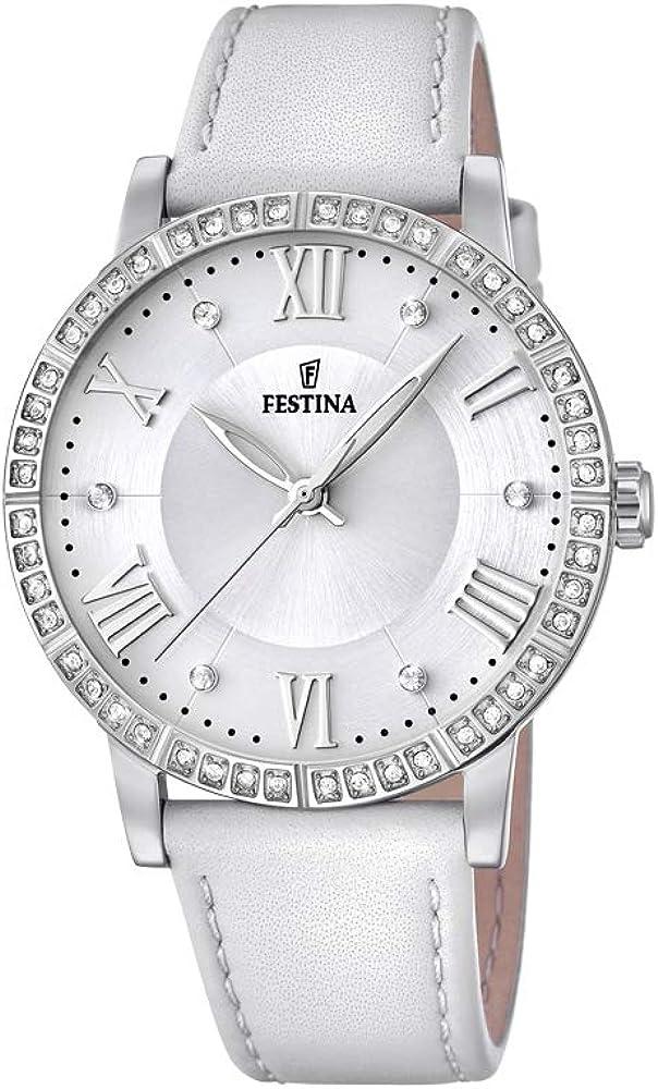 Festina orologio cronografo da donna con cassa in acciaio inossidabile cinturino in vera pelle F20412/1