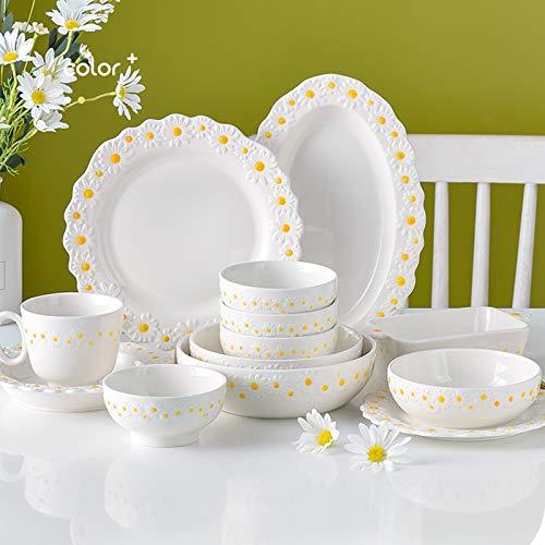Juegos De Vajillas De Porcelana, vajilla con relieve en forma de margarita Juego de 38   Juego de cuenco de cereal y plato de carne de porcelana retro para regalo de boda