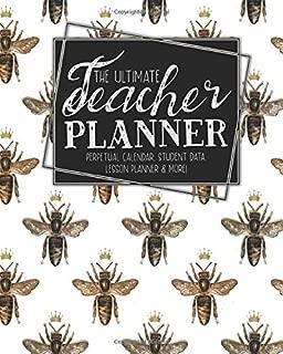 The Ultimate Teacher Planner Perpetual Calendar, Student Data, Lesson Planner & More: Bumblebee Bee | School Education Academic Planner | Teacher ... Gift | Honeycomb Hive Queen |Ephemera