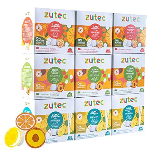 Zutec - Cápsulas de Zumo Surtido (Naranja, Piña y Melocotón) - Compatibles con cafeteras Dolce Gusto* - 9 Estuches de 12 cápsulas - 108 cápsulas