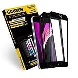 [GAURUN ガウラン] iPhone SE 第2世代 (2020) 用 ガラスフィルム (2枚入り) [ガイドツール付] 硬度9H フルカバー 傷防止 指紋防止 耐衝撃 強化ガラス 液晶保護フィルム シート (iPhone SE 2020, ブラック)