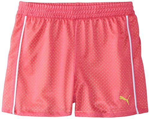 PUMA Big Girls' Active Double Mesh Short, Pink Glo, 8-10 (Medium)