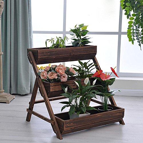 RJZHJ rural Rétro Bois massif Support de fleurs Polyvalent Étagère balcon jardin patio personnalité Pot de fleurs Bonsai cadre plante Présentoir , Brown , 78*71cm