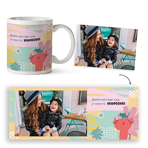 Fotoprix Taza para Mamá Personalizada con Foto | Día de la Madre Regalo | Varios diseños Disponibles. (Diseño: Mamá no Hay más Que una)