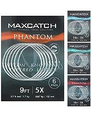 MAXIMUMCATCH Flugfiske ledstång med slingor, 6 stycken per förpackning, 7,5/9/12/15 ft, 0X-7X, klar, nylon, tapered leader