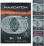 MAXIMUMCATCH Fliegenvorfach mit Schlaufe transparent Tapered Leader 5 Pack 7,5/9/12/15ft, 0X-7X (7.5ft, 2X (5 Stück))