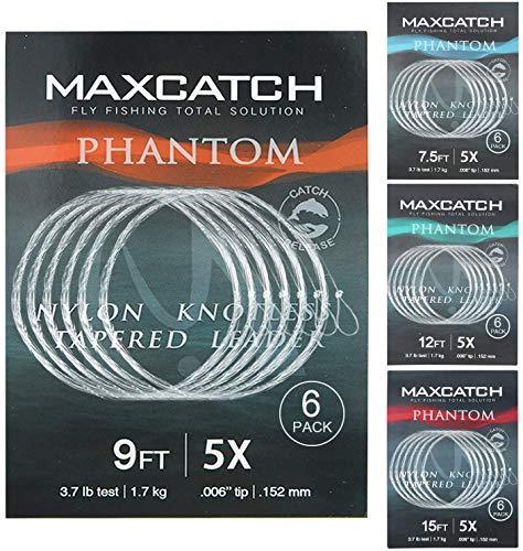 MAXIMUMCATCH Fliegenvorfach mit Schlaufe transparent Tapered Leader 5 Pack 7,5/9/12/15ft, 0X-7X (7.5ft, 5X (5 Stück))
