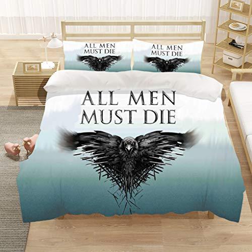 Goplnma-Game of Thrones Bettwäsche-Sets,Wolf Thema Serie Bettbezug,mit Kissenbezug, 3D-Digitaldruck,Mehrfarbig (220×260cm,3)