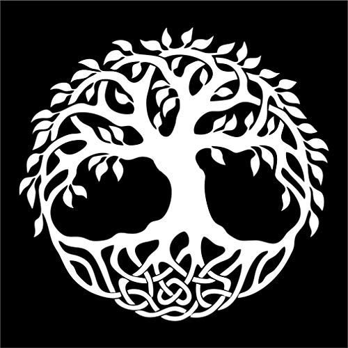 Celtic Tree of Life Vinyl Window Sticker Decal Car Wall Irish - Multiple Sizes and Colors - Die Cut No Background (White, 5' Tall)
