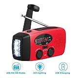 Wallfire Emergency Weather Radio Portable Emergency Solar Radio Hand Crank Self Powered AM/FM