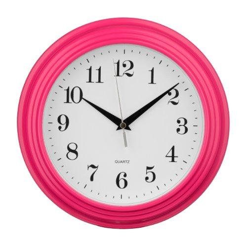 Premier Housewares hete roze ronde wandklok, kunststof, 5x26x26