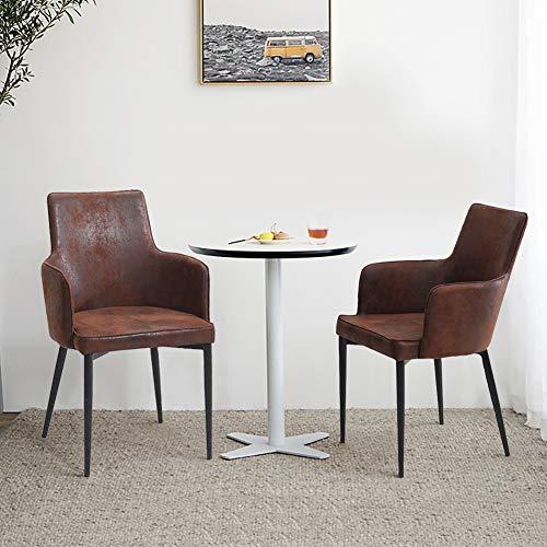 KJ Juego de 2 sillas de comedor marrón vintage, piel aterciopelada, estilo industrial, patas metálicas, silla de dormitorio con respaldo y reposabrazos, silla de comedor moderna, color marrón