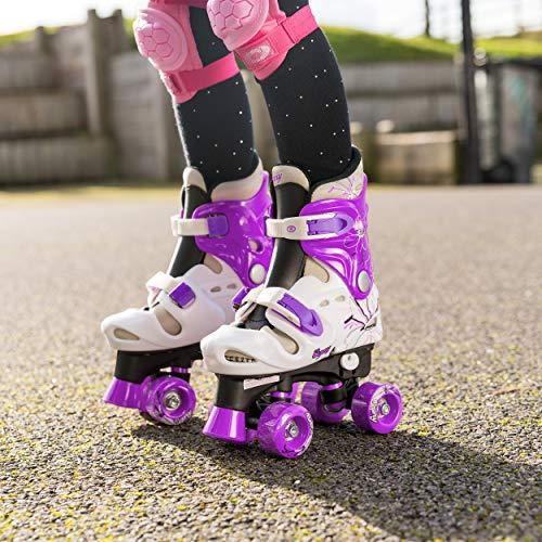 Osprey Kids Roller Skates, Adjustable Roller Skates Girls, Quad Skate Design, Medium/13-3 UK Child, Purple