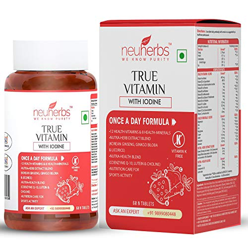 Neuherbs True Vitamins With Iodine (Multivitamin) with Nutra-Herb Extract (Korean Ginseng), Vitamins Minerals for Energy, Immunity booster, Skin & Nails, Brain and Eyes for Men & Women - 60 Veg Tabs