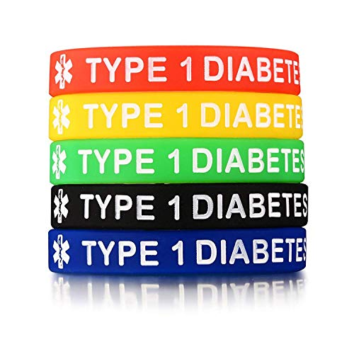 Chien 5 Pack Assorted Colors Medical Alert Type 1/2 Diabetes Silicone Bracelets Wristband for Men Women,7.5' (Type 1 Diabetes)