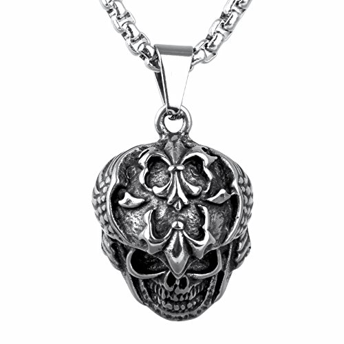 COPAUL de acero inoxidable Gótico cruz calaveras para hombre-remolque con 60 cm collar, Plata