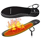 Warmfits Battery Powered Rechargeable Heated Insoles Foot Warmers for Men and Women Cut-to-Fit Multiple Sizes for Shoes Boots Hunting Ice Fishing Hiking Camping 5-6 Hrs Warming Time