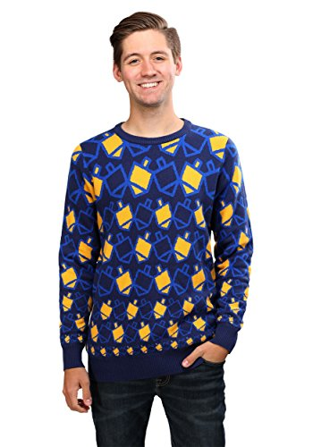 FUN.COM Hanukkah Dreidel Holiday Sweater - XS Blue