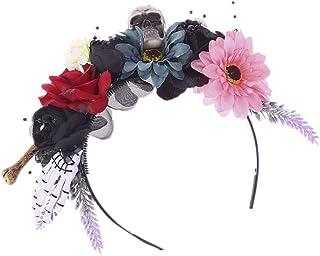 SOLUSTRE Halloween Flower Crown Headband Mexican Rose Flower Crown dia de los muertos Flower Crown Day of The Dead Headban...