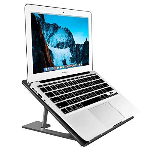 Supporto per computer portatile in alluminio regolabile, compatibile con Apple Mac MacBook Notebook, supporto ergonomico portatile ventilato per scrivania da ufficio, metallo nero Soundance AS1