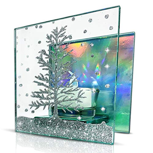 BANBERRY DESIGNS Christmas Tree Candle Holder - Mirrored Glass with Silver Glittery Xmas Tree - Comes with 1 White LED Tea Light - Holiday Infinity Holders