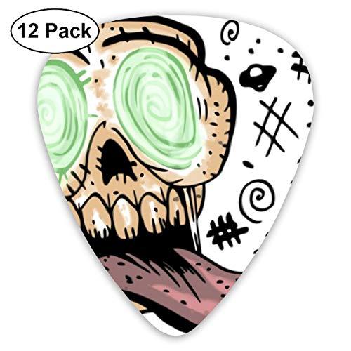 Houity Gitarrenplektrum, bunt, Cartoon-Motiv eines Crazy Skull 12-teiliges Gitarrenpaddel-Set aus umweltfreundlichem ABS-Material, geeignet für Gitarren, Quads, etc.