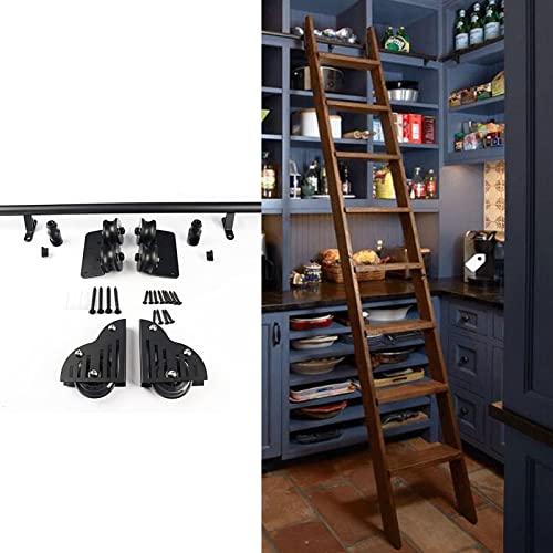 XFSHKJS 3.3ft- 20ft Schiebe-Scheunentor- Kit für Zuhause/Innen/Loft(ohne Leiter) Rundrohr-Mobile-Bibliothek- Hardware Rollleiter-Schiene/Schiene, mit Bodenrollenrädern (Size : 100cm Gleisbausatz)