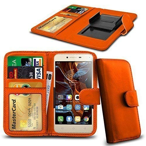 N4U ONLINE® Clip Serie Kunstleder Brieftasche Hülle für Cubot Cheetahphone - Orange