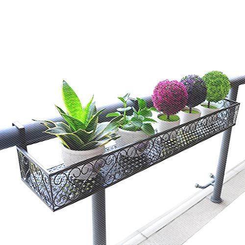 DENGTU Kang-JZ rechthoekige bloemenstandaard, zwart bloemenstandaard, ijzer, hangend, zwart, brede haken, duurzame geleidingsplanken, vensterbank, leuning, meerdere maten bloempot plank