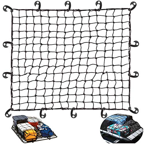 SDTC Tech 48' x 36' Bungee Cord Net Featuring 14 Hooks 4' x 4' Grid Cargo Net Black Elastic Tie-Down Net for Roof Luggage Rack / Camping / Trucks / Cargo