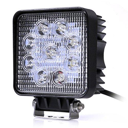 Kaigeli888 Feux de Jour LED 27W 12V-24V pour Auto Voiture Lampe Etanche IP67 Phare de Travail Lumière Avant Ultra Puissant Eclairage Anti-Brouillard Conduite Sécurité - Blanc Froid Carré (1pcs)