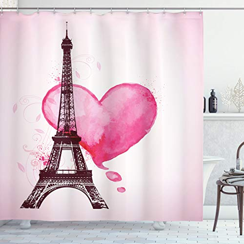 Ambesonne Eiffel Tower Shower Curtain, Eiffel Romantic Valentine Love Watercolor Theme Heart Leaf Silhouette Print, Cloth Fabric Bathroom Decor Set with Hooks, 75' Long, Plum Fuchsia