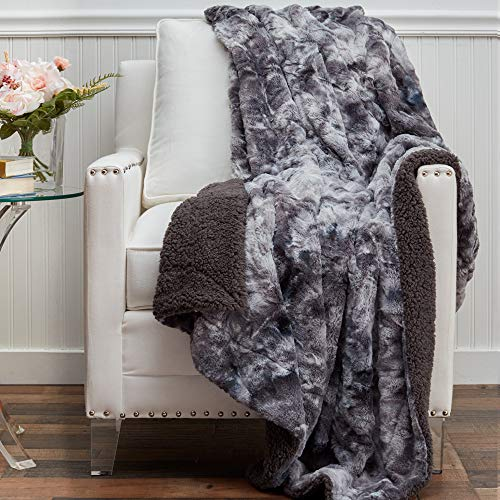 The Connecticut Home Company Soft FluffyFaux Fur Bed Throw Blanket, Luxury Sherpa Reversible Blankets, Comfy Plush Washable Accent Throws for Sofa Couch, Fuzzy Home Bedroom Decor,65x50, Gray Tie Dye